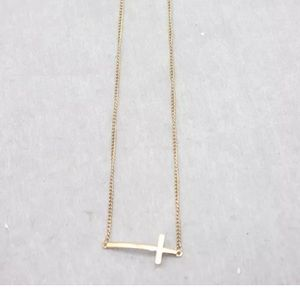 Gold Horizontal Sideway Cross Necklace